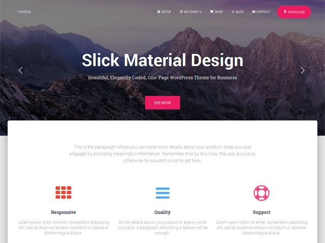 Photo of a website built with Hestia theme