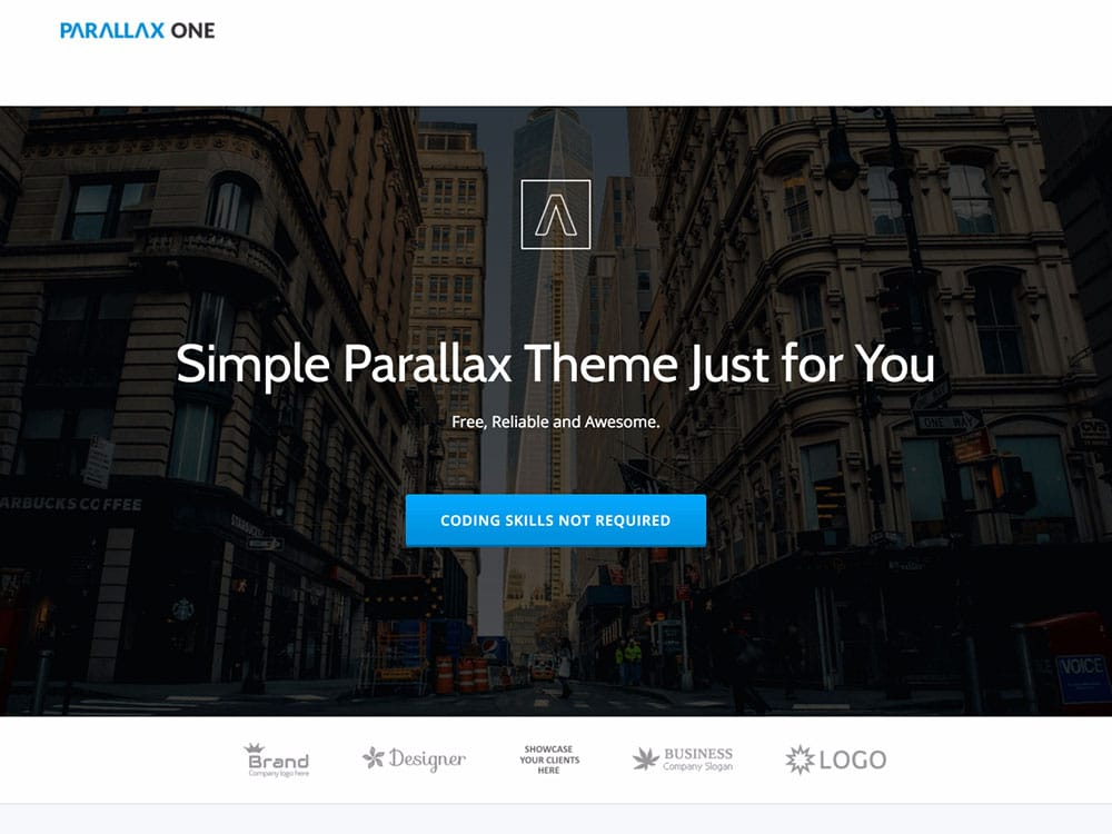 Photo of a website built with Parallax One theme