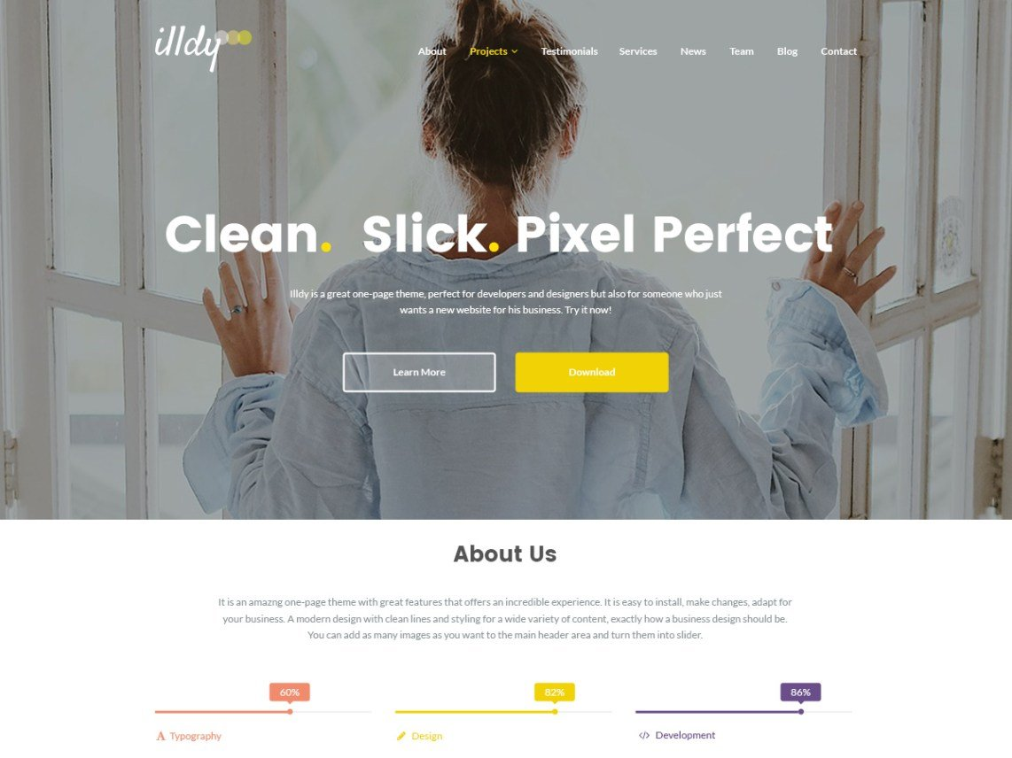 Photo of a website built with Illdy theme