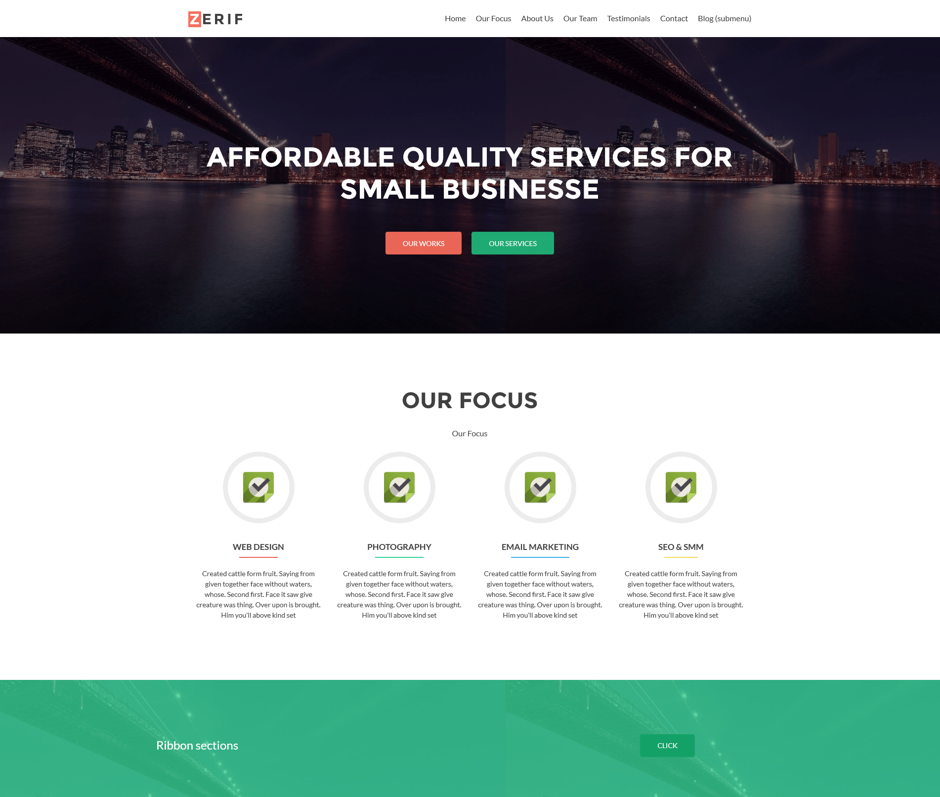 Photo of a website built with Zerif Lite theme