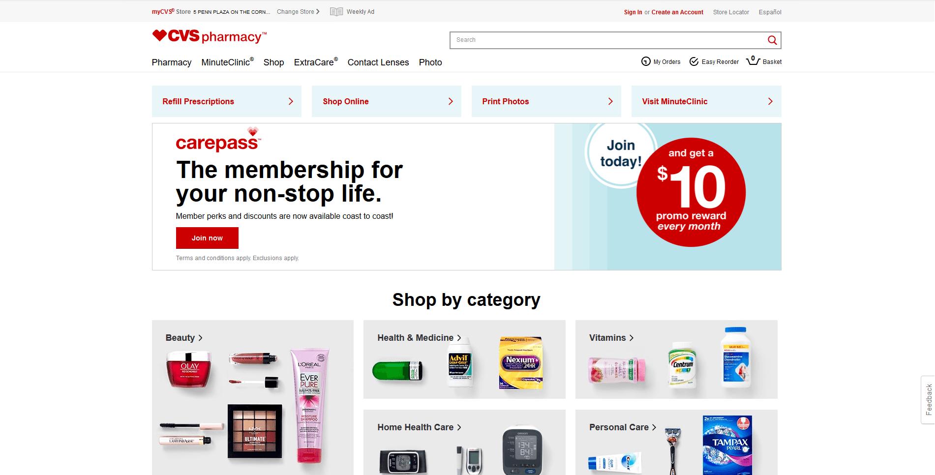 cvs' websites picture
