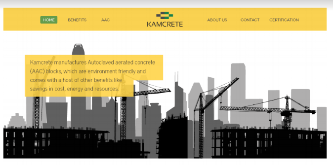 Kamcrete homepage