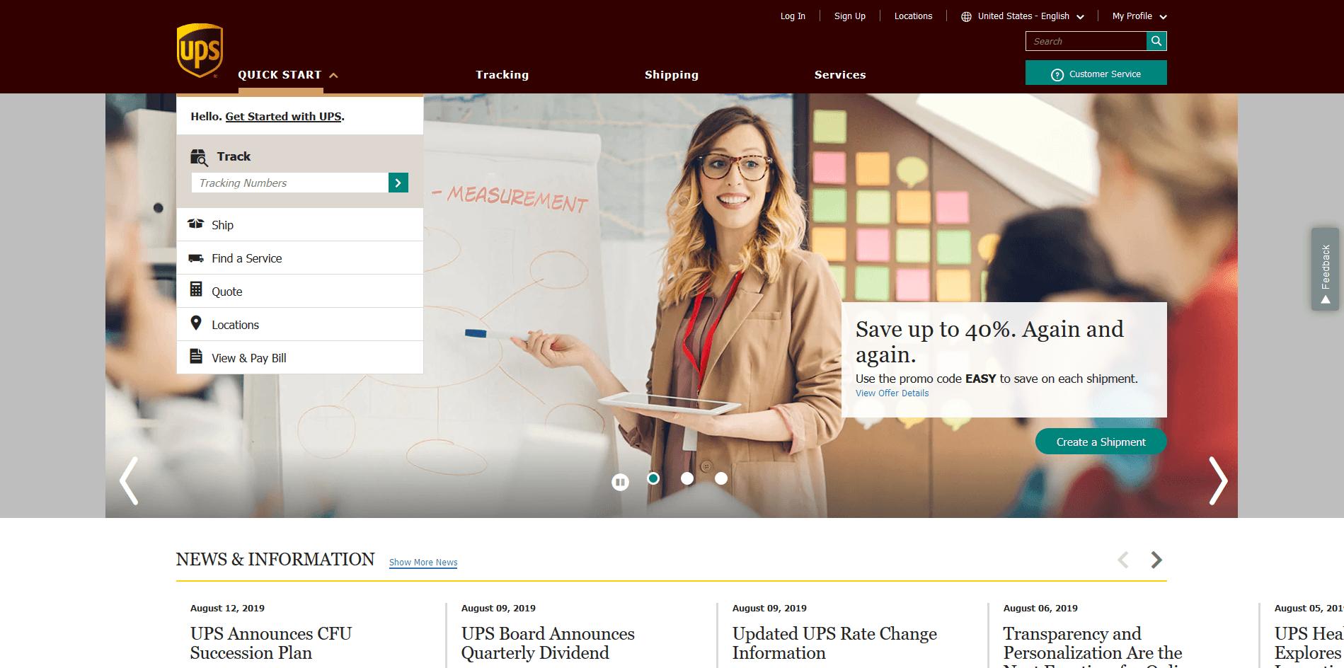 UPS website's picture