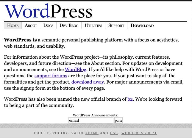 wordpress version 0.71