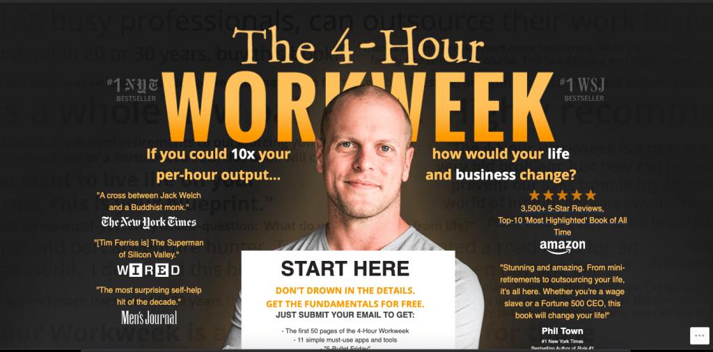 wordpress and personal websites fourhourworkweek.com