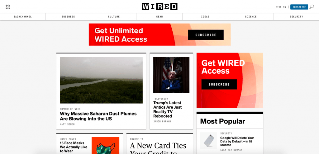 wordpress media and news site wired.com