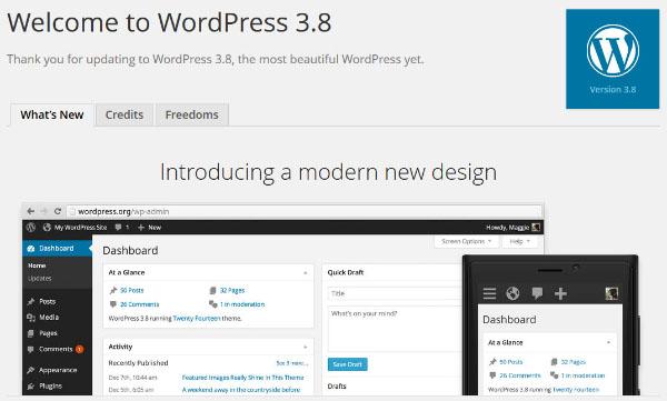 wordpress version 3.8