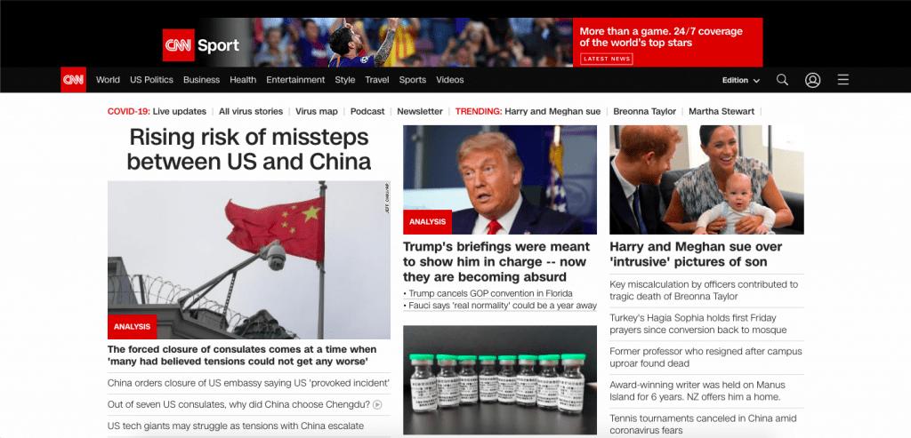 CNN Top 10 Most Popular ReactJS Websites of 2020