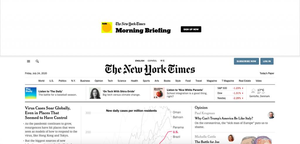 New York Times Top 10 Most Popular ReactJS Websites of 2020