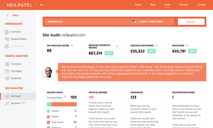 Neil Patel SEO Analyzer