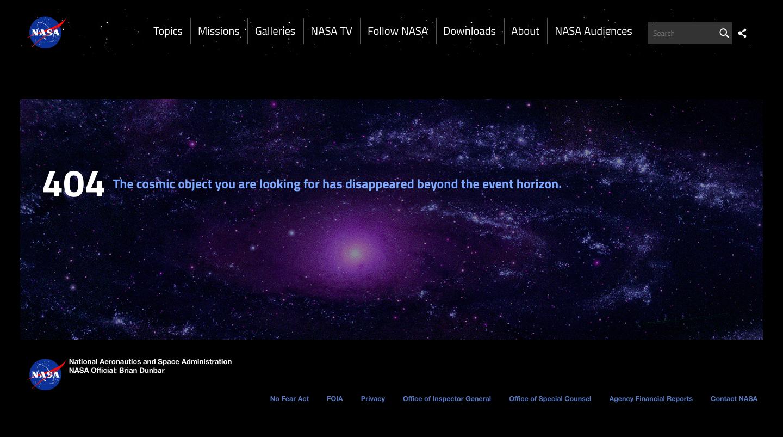 NASA custom 404 page