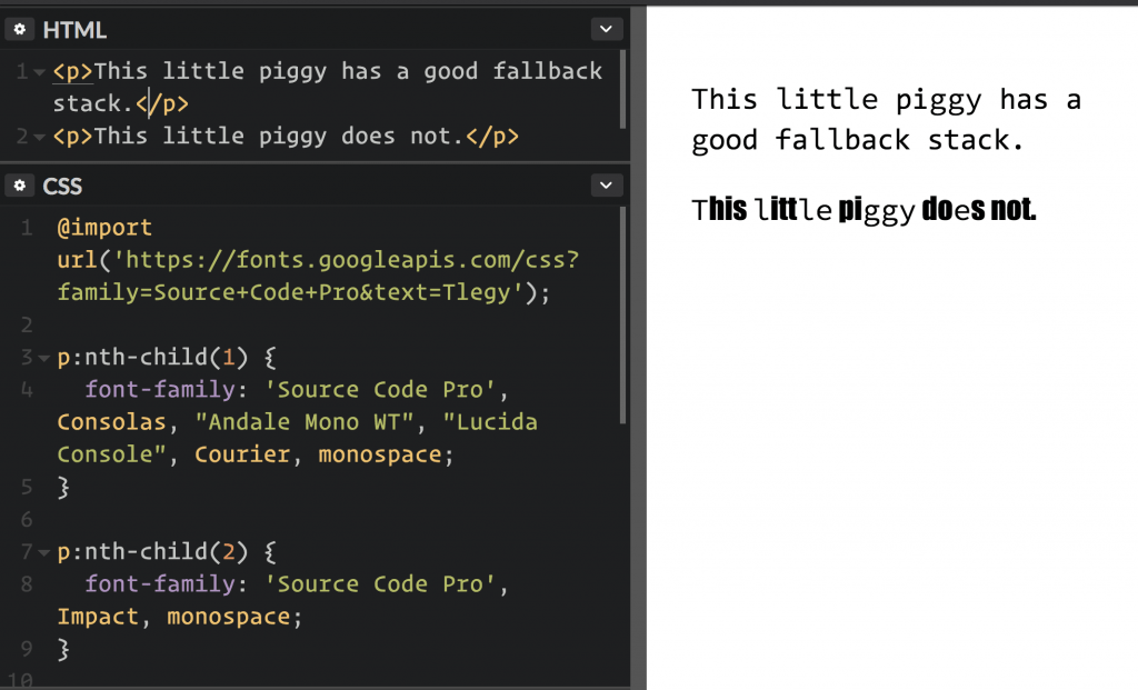 example of fallback font