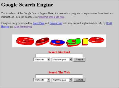 the first version of Google
