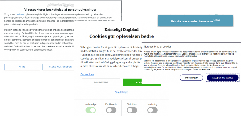 Cookie Consent popup Examples