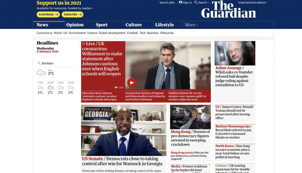 The Guardian - Most Popular Angular Websites