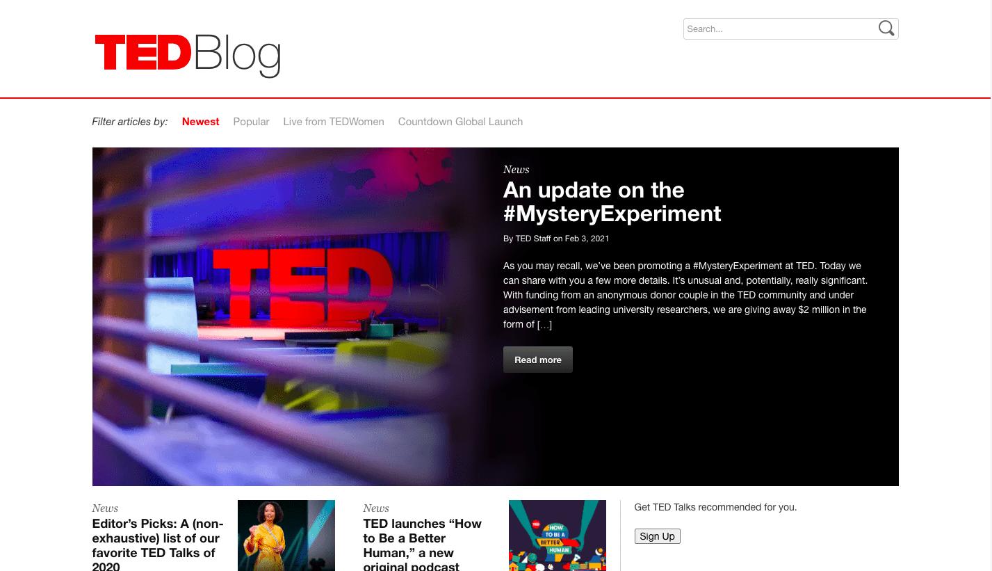 TedBlog landing page