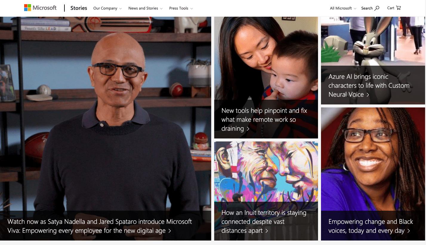 Microsoft news landing page