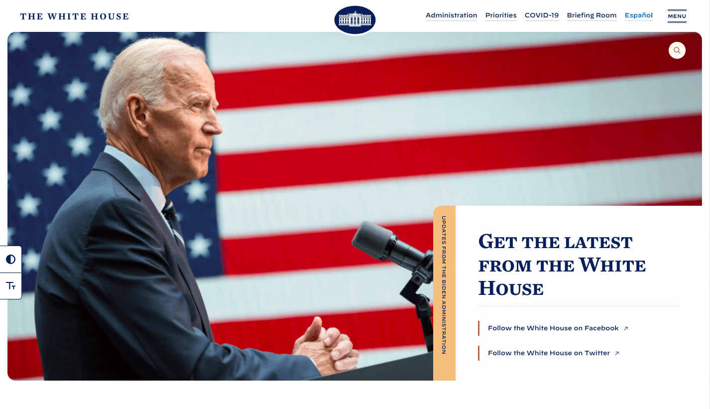 White house landing page