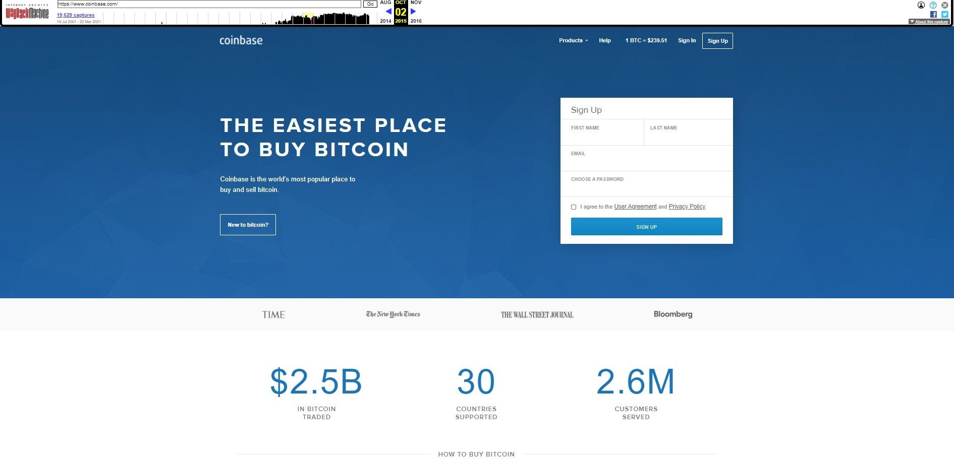 This is how the website of Coinbase progressed and changed in 2015.