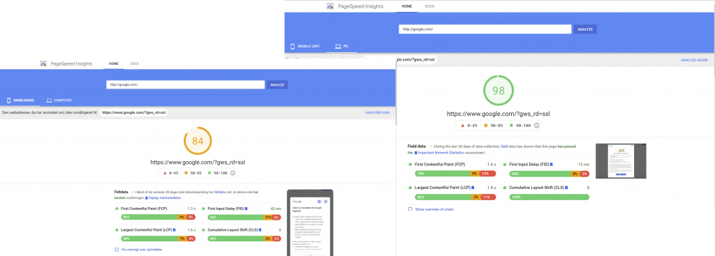 Desktop vs mobile page speed scores